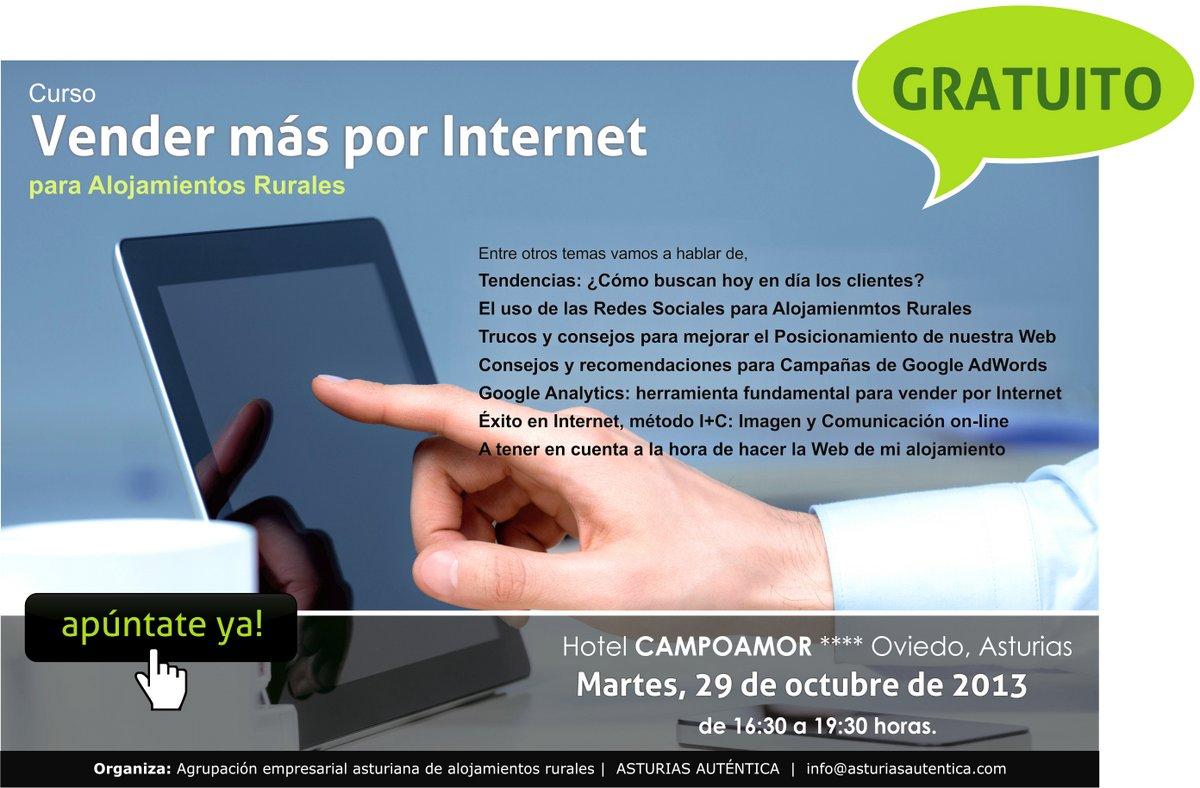 Poster curso Asturias 29 de octubre de 2013 vender más en internet para alojamientos rurales posicionamiento